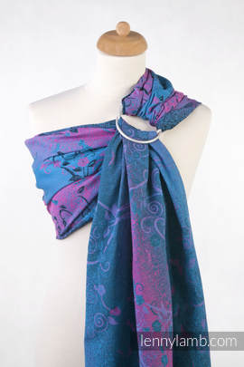 Ringsling, Jacquard Weave (100% cotton), with gathered shoulder - DREAM TREE BLUE & PINK