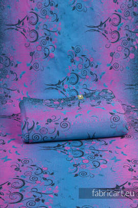 DREAM TREE BLUE & PINK, jacquard weave fabric, 100% cotton, width 140 cm, weight 240 g/m²