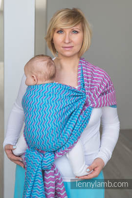 Baby Wrap, Jacquard Weave (100% cotton) - ZIGZAG TURQUOISE & PINK  - size S