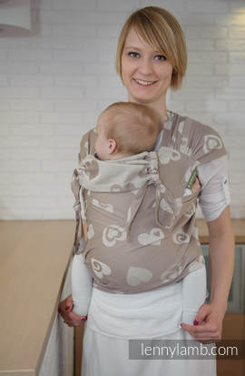 WRAP-TAI carrier Toddler with hood/ jacquard twill / 84% cotton 16% linen / SWEETHEART BEIGE & CREAM (grade B)