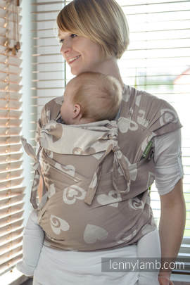 WRAP-TAI carrier Mini with hood/ jacquard twill / 84% cotton, 16% linen / SWEETHEART BEIGE & CREAM