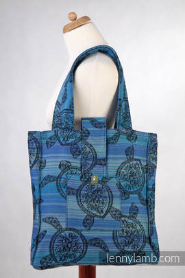 Shoulder bag made of wrap fabric (100% cotton) - SEA ADVENTURE DARK - standard size 37cmx37cm (grade B)