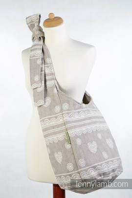 Hobo Bag made of woven fabric, 60% cotton, 28% linen 12% tussah silk- PORCELAIN LACE