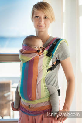 Ergonomic Carrier, Baby Size, broken-twill weave 100% cotton - wrap conversion from CORAL REEF - Second Generation.