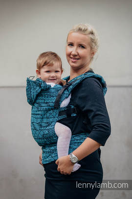 Ergonomic Carrier, Toddler Size, jacquard weave 100% cotton - wrap conversion from ENIGMA BLUE, Second Generation