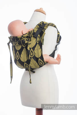 Lenny Buckle Onbuhimo, standard size, jacquard weave (100% cotton) - Wrap conversion from NORTHERN LEAVES BLACK & YELLOW