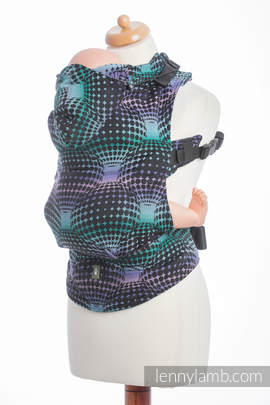 Ergonomic Carrier, Toddler Size, jacquard weave 100% cotton - wrap conversion from DISCO BALLS Reverse- Second Generation.