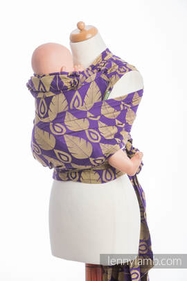 WRAP-TAI carrier Mini with hood/ jacquard twill / 100% cotton / NORTHERN LEAVES PURPLE & YELLOW