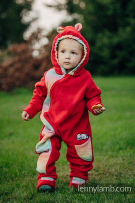 Bear Romper with baby booties - size 86 -  red with Little Herringbone Imagination