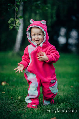 Bear Romper - size 68 - pink with Little Herringbone Impression (grade B)