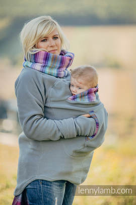 Fleece Babywearing Sweatshirt - size XXL - grey with Little Herringbone Tamonea