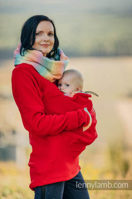 Fleece Babywearing Sweatshirt - size XXL - red with Little Herringbone Imagination