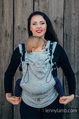 Ergonomic Carrier, Toddler Size, jacquard weave 60% cotton 28% linen 12% tussah silk - wrap conversion from TWISTED LEAVES GREY & TURQUOISE, Second Generation