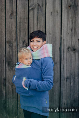 Fleece Babywearing Sweatshirt - size XXL - blue with Little Herringbone Impression