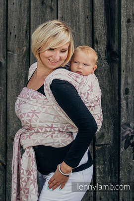 Baby Wrap, Jacquard Weave (60% cotton, 28% merino wool, 8% silk, 4% cashmere) - HEXA FLOWERS PINK  - size M (grade B)
