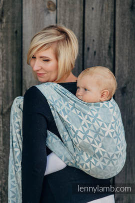 Baby Wrap, Jacquard Weave (60% cotton, 28% merino wool, 8% silk, 4% cashmere) - HEXA FLOWERS BLUE  - size S (grade B)