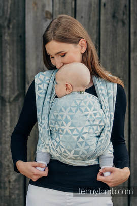 Baby Wrap, Jacquard Weave (60% cotton, 28% merino wool, 8% silk, 4% cashmere) - HEXA FLOWERS BLUE  - size XL