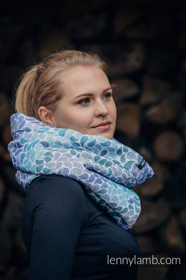 Snood Scarf with  Fleece - COLORS OF HEAVEN & NAVY BLUE