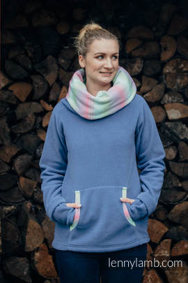 Fleece Sweatshirt - size XXL - blue with Little Herringbone Impression