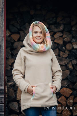 Fleece Sweatshirt - size XL - cafe latte with Little Herringbone Imagination