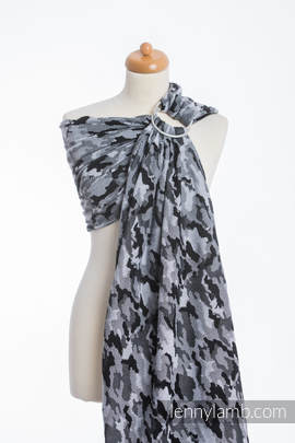 Ringsling, Jacquard Weave (100% cotton) - with gathered shoulder - GREY CAMO