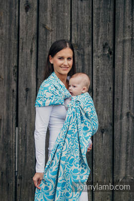 Ringsling, Jacquard Weave (100% cotton) - with gathered shoulder - TWISTED LEAVES CREAM & TURQUOISE (grade B)