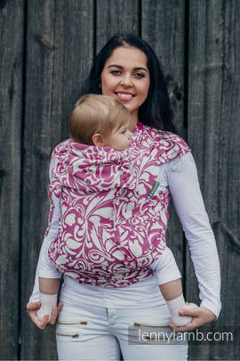 WRAP-TAI carrier Toddler with hood/ jacquard twill / 100% cotton / TWISTED LEAVES CREAM & PURPLE (grade B)
