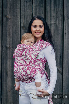 WRAP-TAI carrier Mini with hood/ jacquard twill / 100% cotton / TWISTED LEAVES CREAM & PURPLE