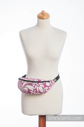 Waist Bag made of woven fabric, (100% cotton) - TWISTED LEAVES CREAM & PURPLE