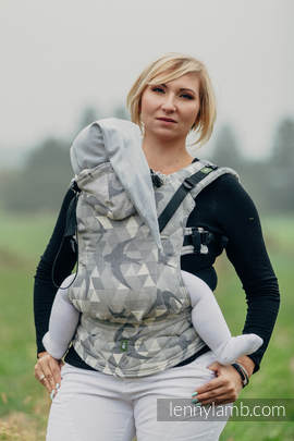 Ergonomic Carrier, Baby Size, jacquard weave 80% cotton 14% linen 6% tussah silk - wrap conversion from SWALLOWS GREY, Second Generation (grade B)
