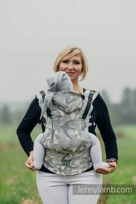 Ergonomic Carrier, Toddler Size, jacquard weave 80% cotton 14% linen 6% tussah silk - wrap conversion from SWALLOWS GREY, Second Generation