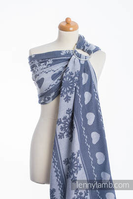 Ringsling, Jacquard Weave (80% cotton, 20% merino wool) - WARM HEARTS NAVY BLUE & WHITE (grade B)