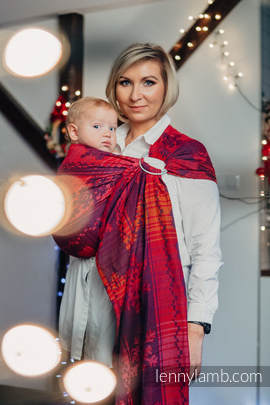 Ringsling, Jacquard Weave (100% cotton) - with gathered shoulder - WARM HEARTS WITH CINNAMON