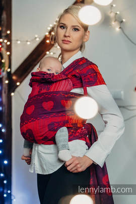 WRAP-TAI carrier Mini with hood/ jacquard twill / 100% cotton / WARM HEARTS WITH CINNAMON