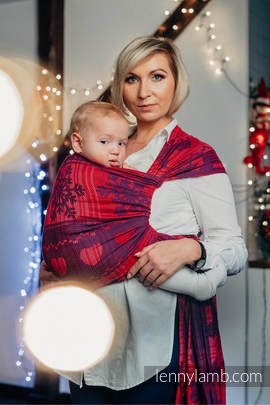 Baby Wrap, Jacquard Weave (100% cotton) - WARM HEARTS WITH CINNAMON  - size XS