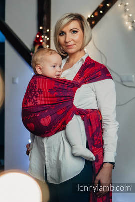 Baby Wrap, Jacquard Weave (100% cotton) - WARM HEARTS WITH CINNAMON  - size L