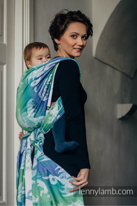 Baby Wrap, Jacquard Weave (100% cotton) - DRAGON GREEN & BLUE - size XL