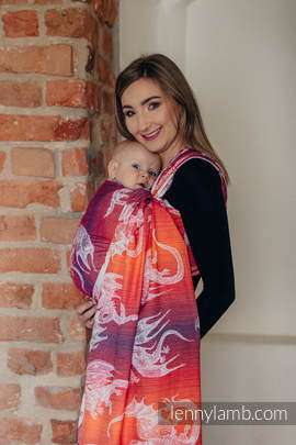 Baby Wrap, Jacquard Weave (100% cotton) - DRAGON ORANGE & RED - size XL