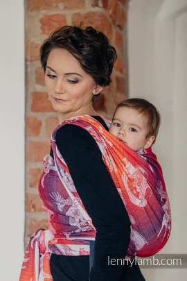 Baby Wrap, Jacquard Weave (100% cotton) - DRAGON ORANGE & RED - size L (grade B)