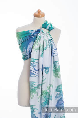 Ringsling, Jacquard Weave (100% cotton) - DRAGON GREEN & BLUE (grade B)