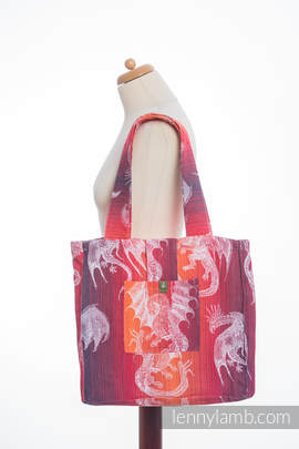 Shoulder bag made of wrap fabric (100% cotton) - DRAGON ORANGE & RED - standard size 37cmx37cm