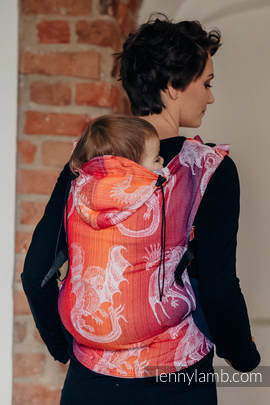 Ergonomic Carrier, Toddler Size, jacquard weave 100% cotton - wrap conversion from DRAGON ORANGE & RED - Second Generation (grade B)