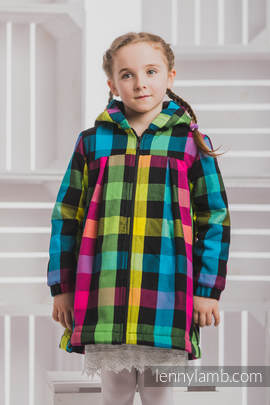 Girls Coat - size 110 - DIAMOND PLAID with Black