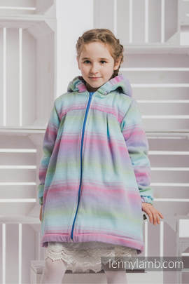 Girls Coat - size 110 - LITTLE HERRINGBONE IMPRESSION with Blue