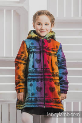Girls Coat - size 110 - RAINBOW LACE DARK with Black