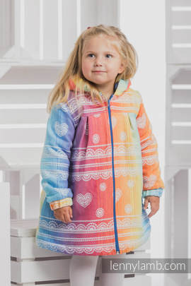 Girls Coat - size 110 - RAINBOW LACE with Blue