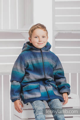Boys Coat - size 110 - LITTLE HERRINGBONE ILLUSION with Black