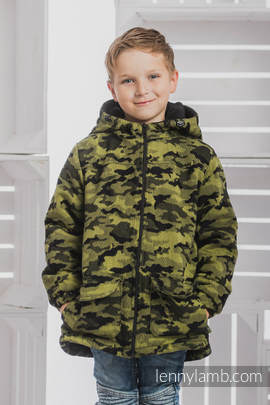 Boys Coat - size 110 - GREEN CAMO with Black