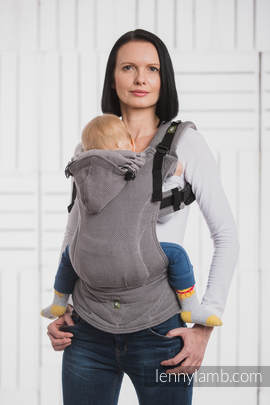 Ergonomic Carrier, Baby Size, herringbone weave 100% cotton - wrap conversion from LITTLE HERRINGBONE BLACK - Second Generation (grade B)