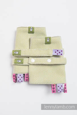 Drool Pads & Reach Straps Set, (100% cotton) - LITTLE HERRINGBONE OLIVE GREEN